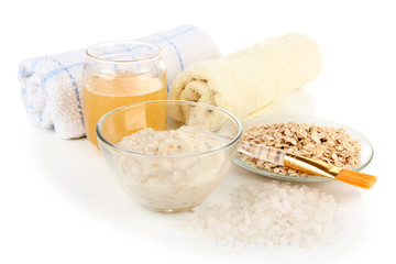 Homemade facial mask with oats and honey, isolated on white