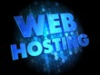 Web Hosting on Dark Digital Background.