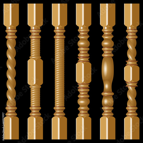 Hardwood Spindles on a black background