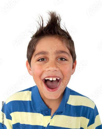 canvas print picture young boy screaming