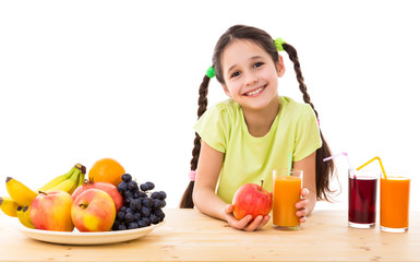 Girl with fruits and juice