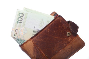 Economy and finance. Wallet with polish banknote isolated