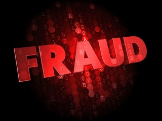 Fraud on Dark Digital Background.