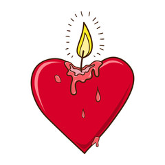 Heart burning candle.