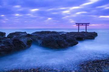 Kamiiso-no-Torii at daybreak, Ibaragi, Japan