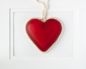 Framed Red Heart with Pearls