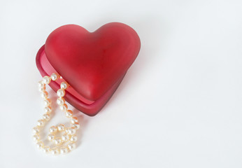 Red Heart Container with Pearls