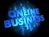 Online Business on Dark Digital Background.