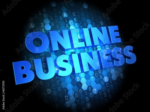 Online Business on Dark Digital Background.