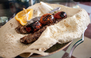 Tradtional food in Iran - kabab with flat bread