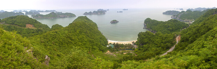 Panorama of islands around Cat Ba island in Vietnam