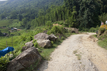 Rural road in mountains near Sapa, Vietnam
