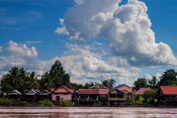 Stilt houses on Don Det island in Mekong, Laos
