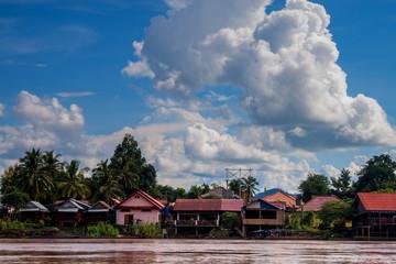 Stilt houses on Don Det island in Mekong, Laos