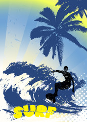 surfer silhouette on grunge background