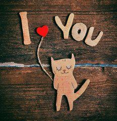 valentines day card with paper cat in love © Ivan Kruk