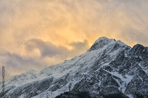 Gorgeous Snowy Mountain Peak in Himalayas at Sunset Soft Light