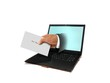 Hand Holding Envelope and Laptop Computer