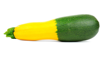 Hybrid Green and Golden Zucchini Isolated on White Background