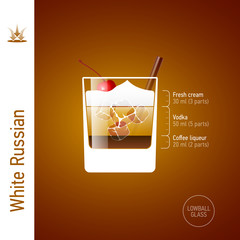 White Russian. Cocktails infographics.