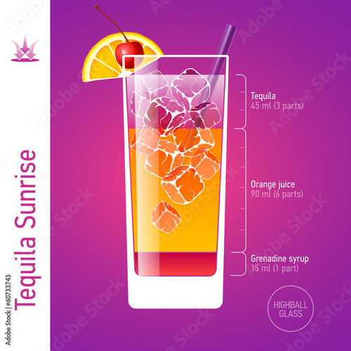 Tequila Sunrise. Cocktails infographics.