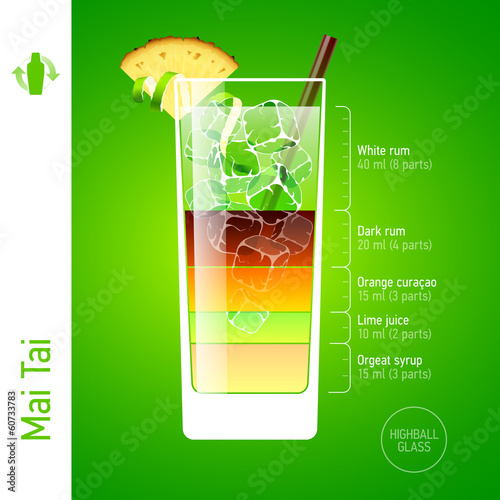 Mai Tai. Cocktails infographics.