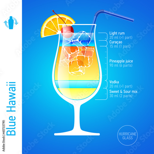 Blue Hawaii. Cocktails infographics.