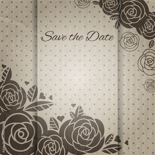 Elegant vintage wedding card with roses.