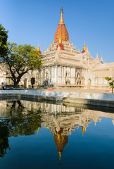 Stunning view of Ananda temple with reflection, Myanmar