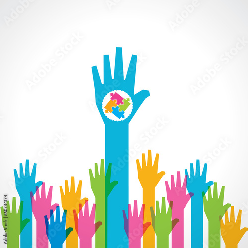 Colorful helping hand background with puzzle pieces stock vector