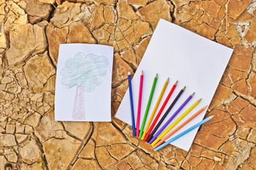 picture of tree on cracked earth with paper and color pencils
