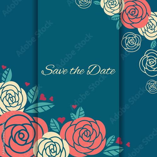Elegant wedding card with roses.