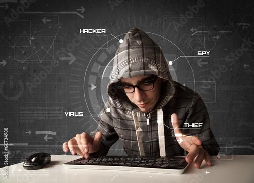 Young hacker in futuristic enviroment hacking personal informati