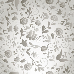 Seamless vintage pattern with gray flowers on gray background