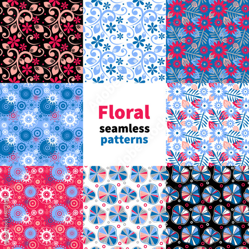 Materiał do szycia Abstract floral seamless pattern set