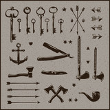 Set of hipster vintage design elements, vector Eps10 image.