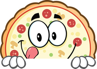 Smiling Pizza Cartoon Mascot Character Over A Sign