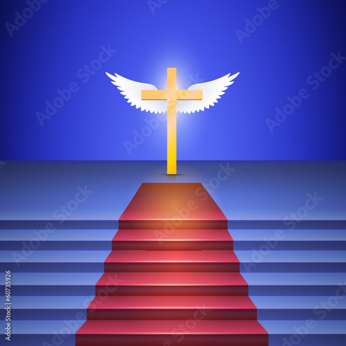 Stairway with red carpet leads to cross standing on stage.