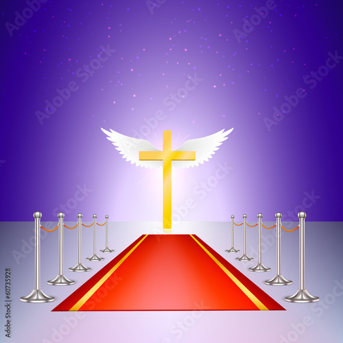 Gold cross, red carpet and fencing of chrome struts connected a