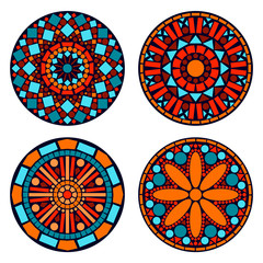 Colorful circle floral mandalas set in blue red and orange