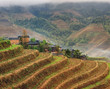 Rice terraces rice paddies Asia peasant village in mountains Chi