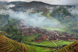 Hillside rice terraces, rice fields in the highlands of Asia.