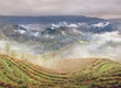Spring fog in mountains of southwestern China, rice terraces, fa