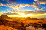 Scenic desert in Wadi Rum, Jordan at sunset.