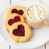 Homemade Cookies with Heart-Shaped Center and a Cup of Hot Choco
