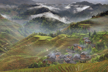 Rural China, peasant village in countryside, mountain region, ri