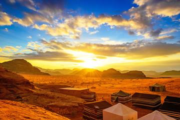 Scenic desert in Wadi Rum, Jordan at sunset.