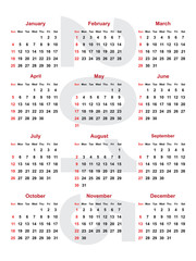 calendar for the year 2015