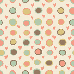 Cartoon hearts and circles seamless pattern