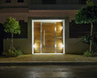 Contemporary house entrance night view, Athens  Greece - 60737555